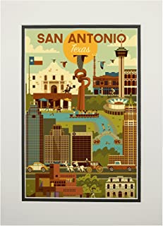 product image for San Antonio, Texas - Geometric (11x14 Double-Matted Art Print, Wall Decor Ready to Frame)