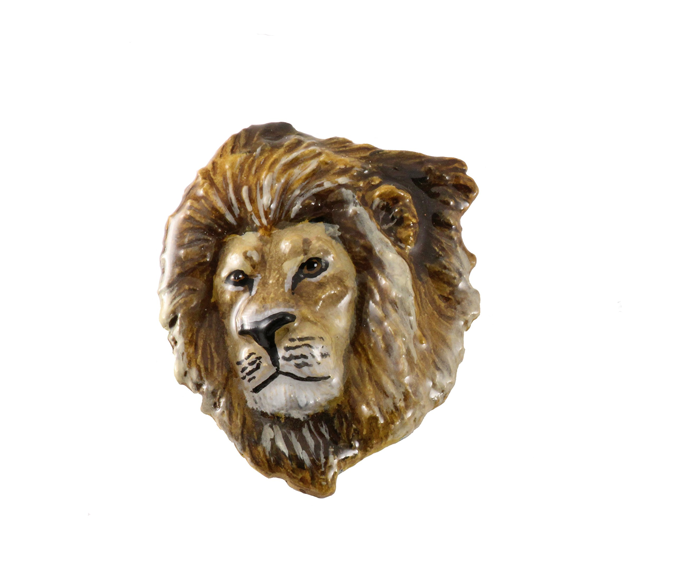 Creative Pewter Designs Pewter Lion Head, Handcrafted Lapel Pin Brooch, Hand Painted, MP102PR