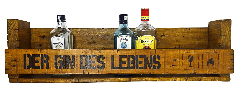 Der Gin des Lebens SHaBBY ViNTaGe PaLeTTeNReGaL (HxLxT: 23x8ox8, 5cm) im Frachtkisten Style aus Echtholz ideal als Weinregal oder Wandbar personalisierbar