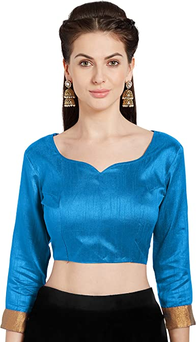 Blue Readymade New Tapeta Silk Wedding Saree Floral Design Stitched Blouse Crop Sari Top Party Wear Work For Women