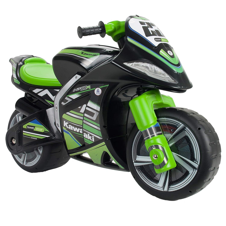 INJUSA Kawasaki Moto Correpasillos XL para Niños +3 Años con Asa para Facilitar El Transporte, Color Verde/Negro, única (19455/000)