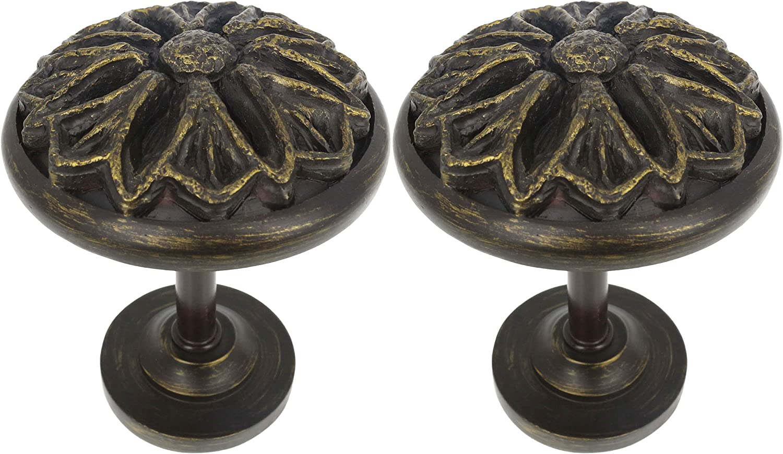 MERIVILLE Set of 2 Petal Window Drapery Medallion Holdbacks, Curtain Tiebacks, Wall Hook, Tassel Holder, Bronze