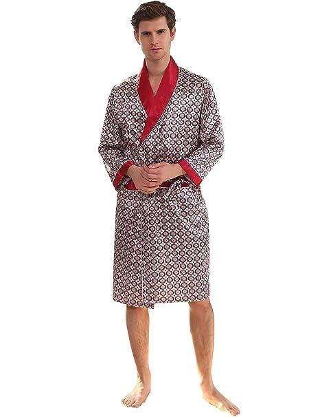 2a9671ed70 Binken Men s Satin Robe Printed Bath Sleepwear Long Classic Charmeuse Robe  (M