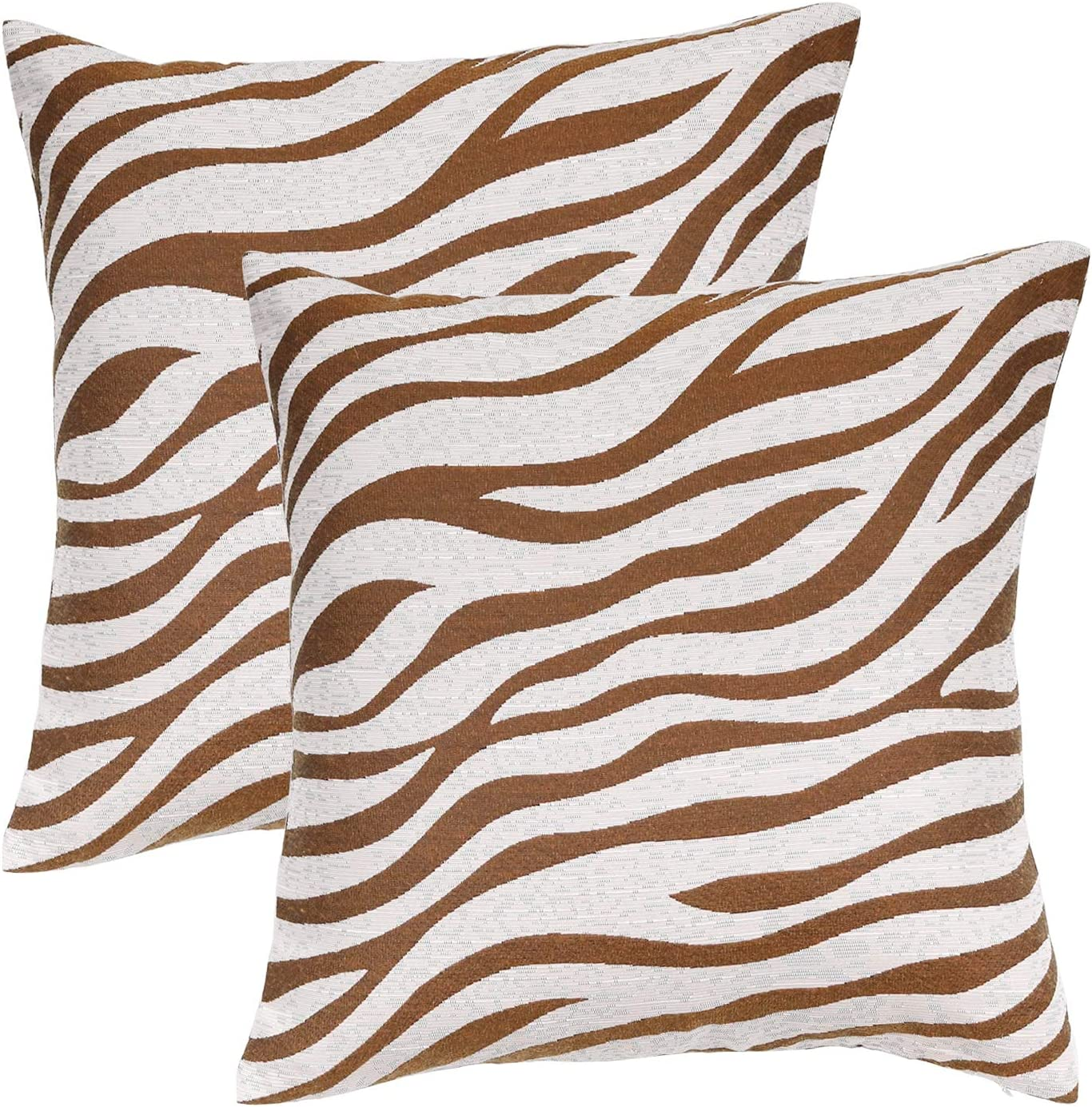 ChuloPony Large Zebra Pillow Covers 18 x 18, Couch Pillows for Living Room, Coffee Brown Stylish Zebra Home Decor Pillows,Outdoor Pillow Covers for Sofa, Armchair,car,Outdoor Party,Set of 2