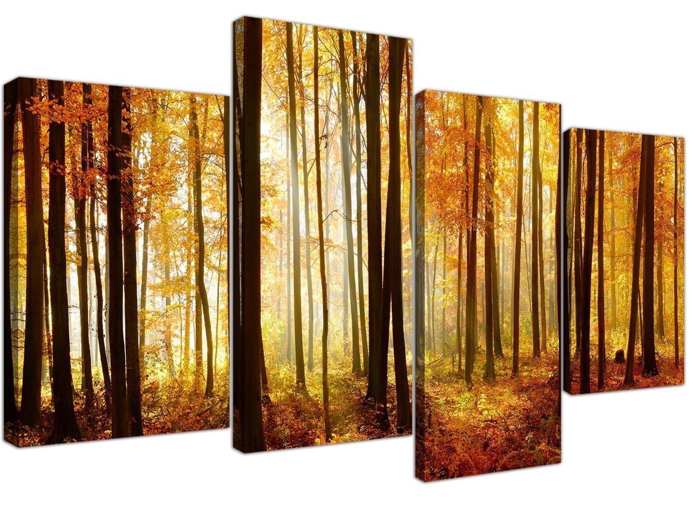 Amazon.com: Orange Autumn Forest Scene Woodland Trees Canvas - Split ...