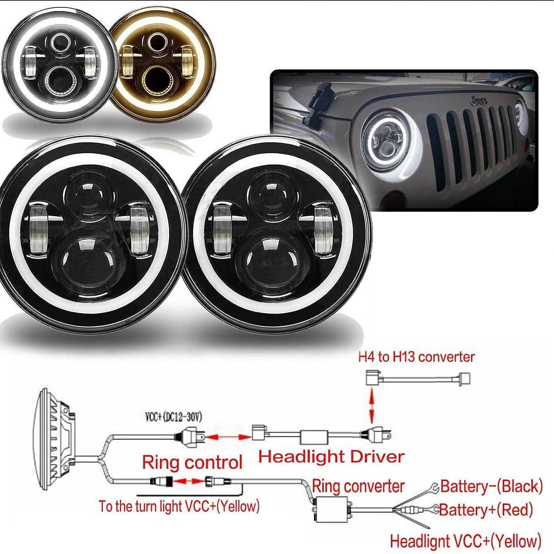 7 Inch Led Round Headlights H4 Hb2 9003 H13 Drl Hi Lo Geo Tracker Headlight Wiring Diagram High Low Beam Halo Ring Amber Lights Bulbs For Suzuki Samurai Sj410 Automotive