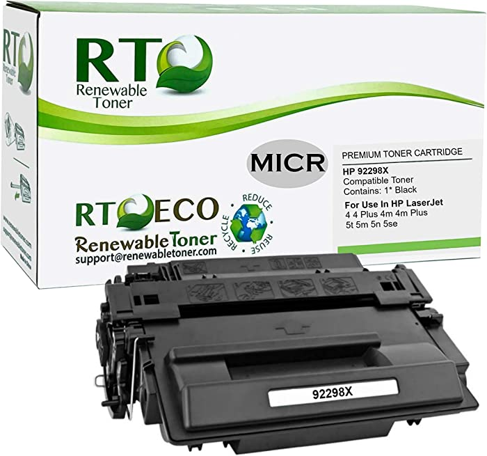 Renewable Toner Compatible High Yield MICR Toner Cartridge Replacement for HP 98X 92298X Laserjet 4 4+ 4M 4M+ 5 5N 5M 5se