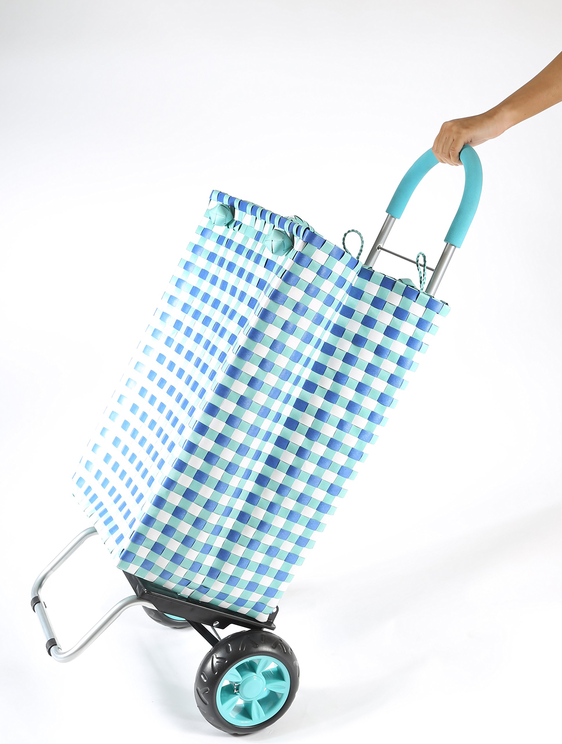 dbest products Trolley Dolly Basket Weave Tote, Blue Shopping Grocery Foldable Cart Picnic Beach by dbest products (Image #5)