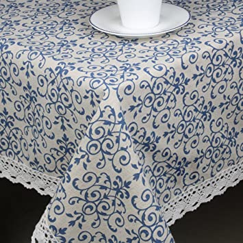 Famibay Dustproof Washable Tablecloth,Everyday Kitchen Table Cloth Indoor  Outdoor Decorative Macrame Lace Tablecloth Navy