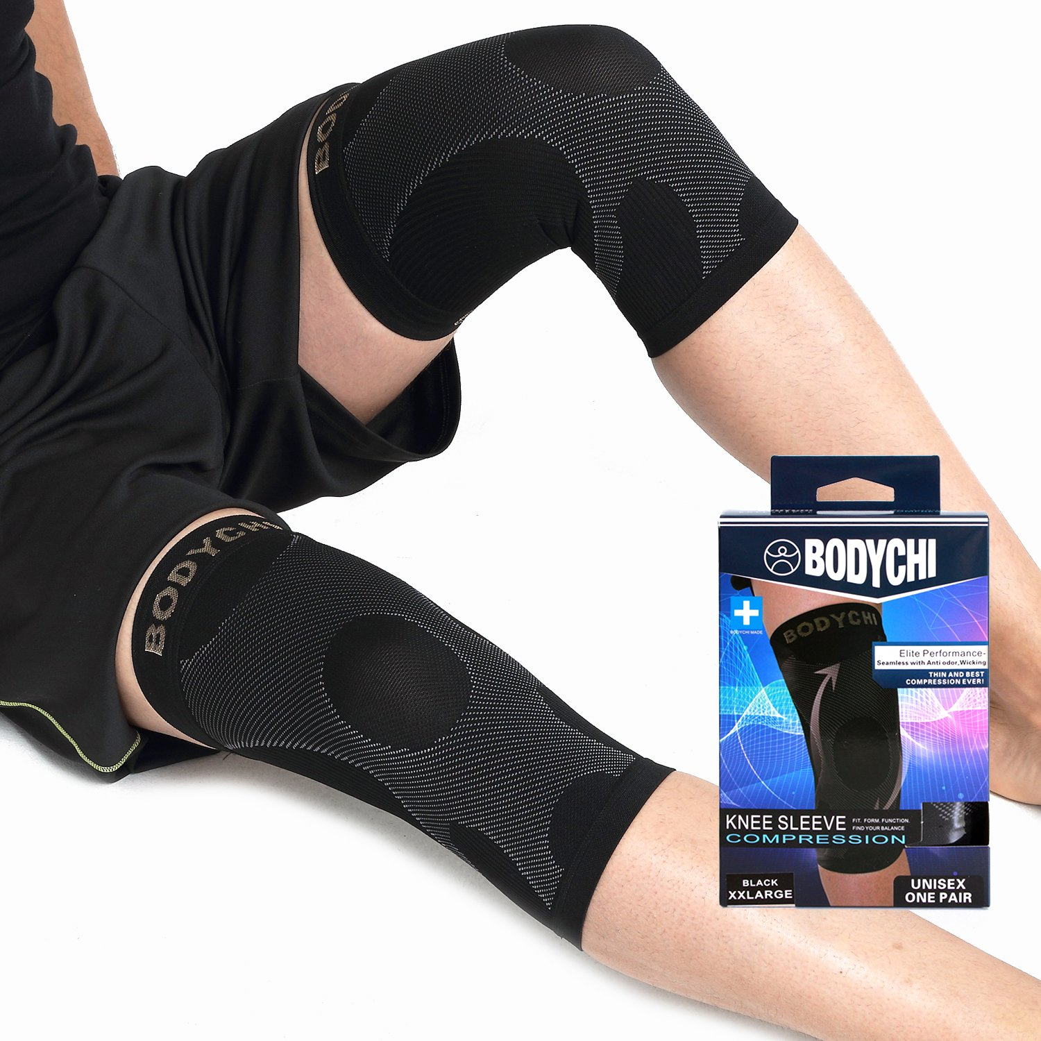 BODYCHI Men and Women Seamless 20-30 mmHg Compression Knee Support Sleeve for Joint Protection and Support for Running, Sports, Knee Pain Relief, Knee Sleeve, Comes in a Pair, Large by BODYCHI (Image #1)