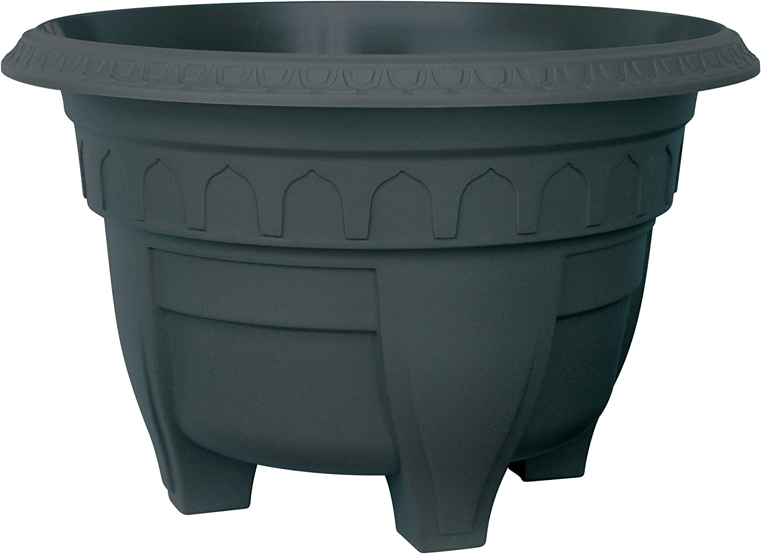 DCN Plastic 1410BK Azura Round Patio Planter, Black