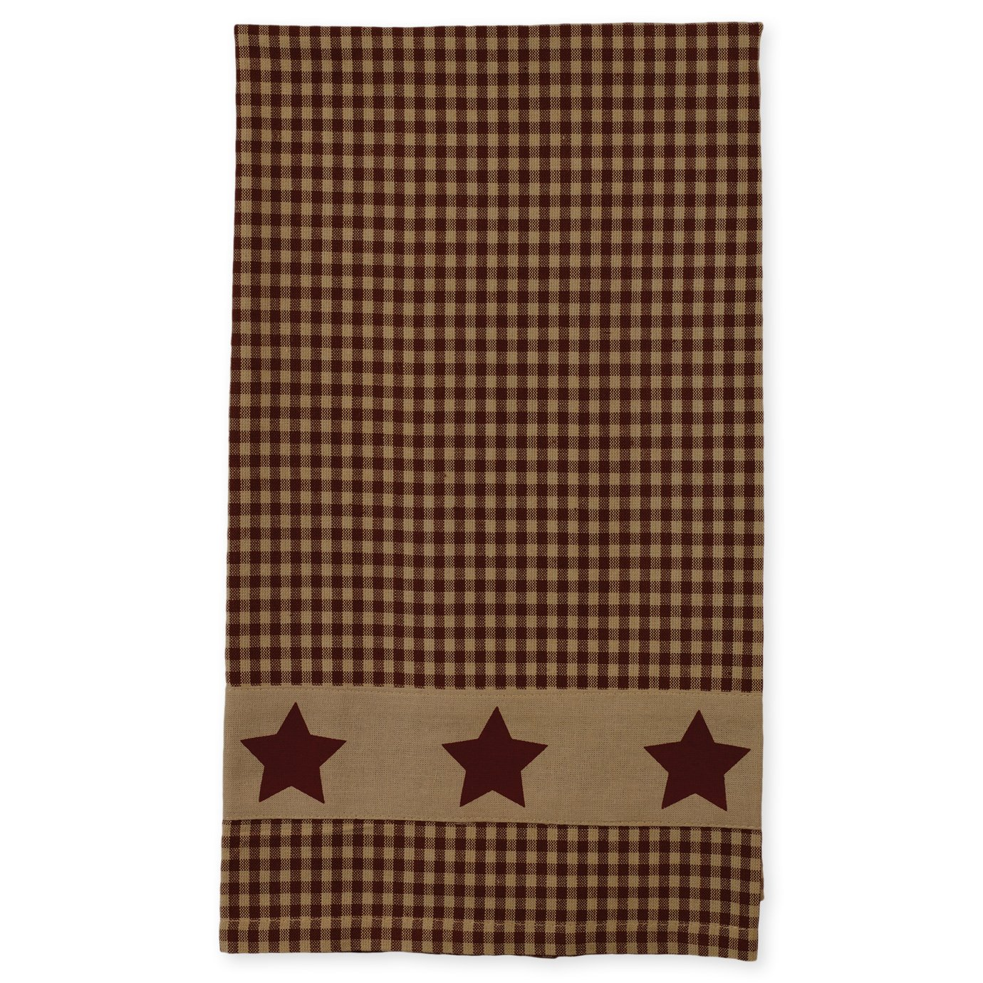 Colonial Burgundy Country Star 19 x 28 Inch Applique All Cotton Hand Tea Towel