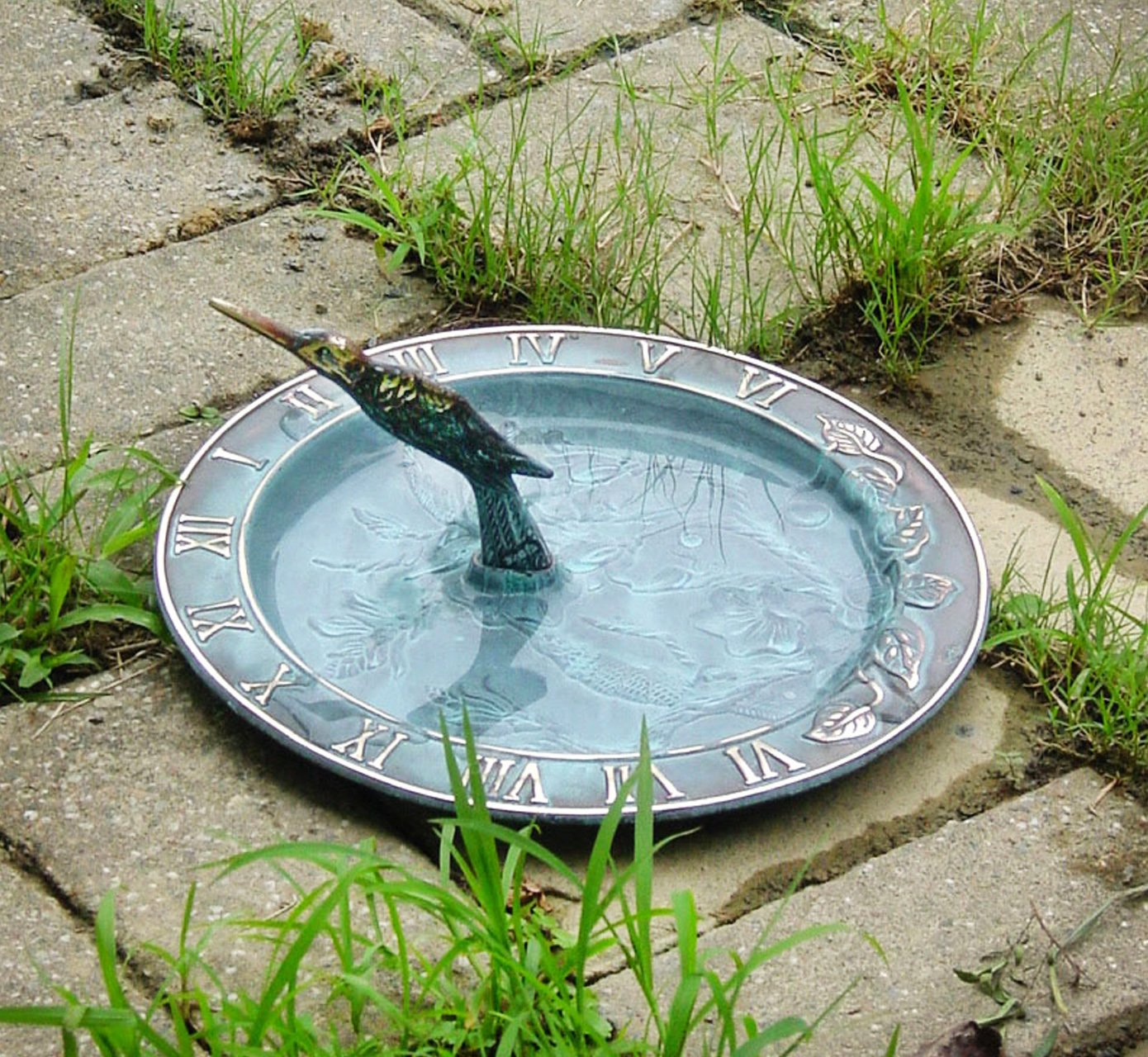 Solid Brass Decorative Hummingbird Birdbath & Birdfeeder & Sundial (Multi-function) 10 Inches Wide - PC25