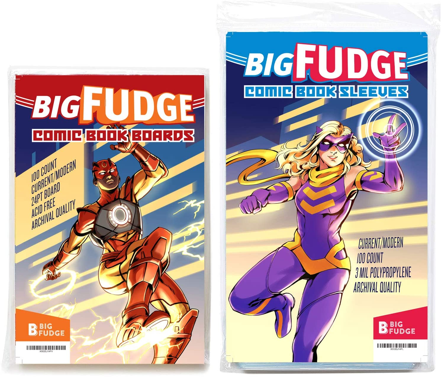 Big Fudge Archival Comic Book Bags and Boards Pack of 100 Comic Bags and 100 Boards for Current Comic Books or 6.87x10.5 Magazine - Acid Free and Crystal Clear Comic Book Storage for Comics
