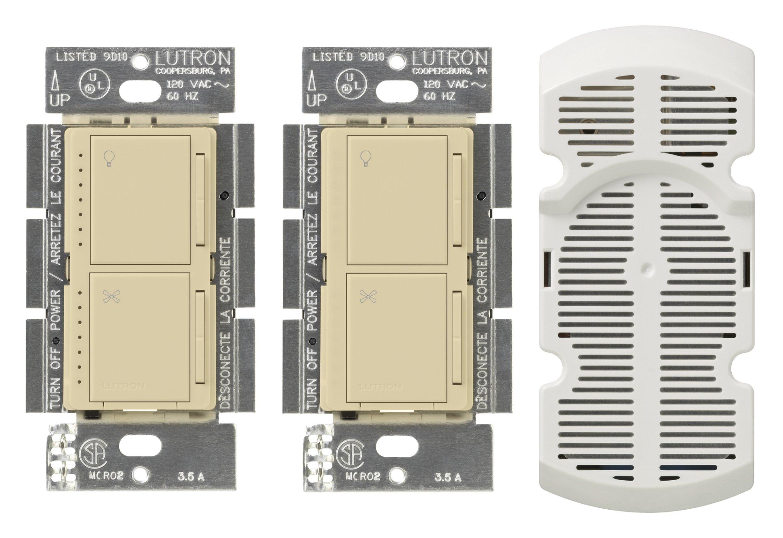 Lutron MA-LFQ3-IV Maestro Multi-Location Fan Control Kit, Ivory