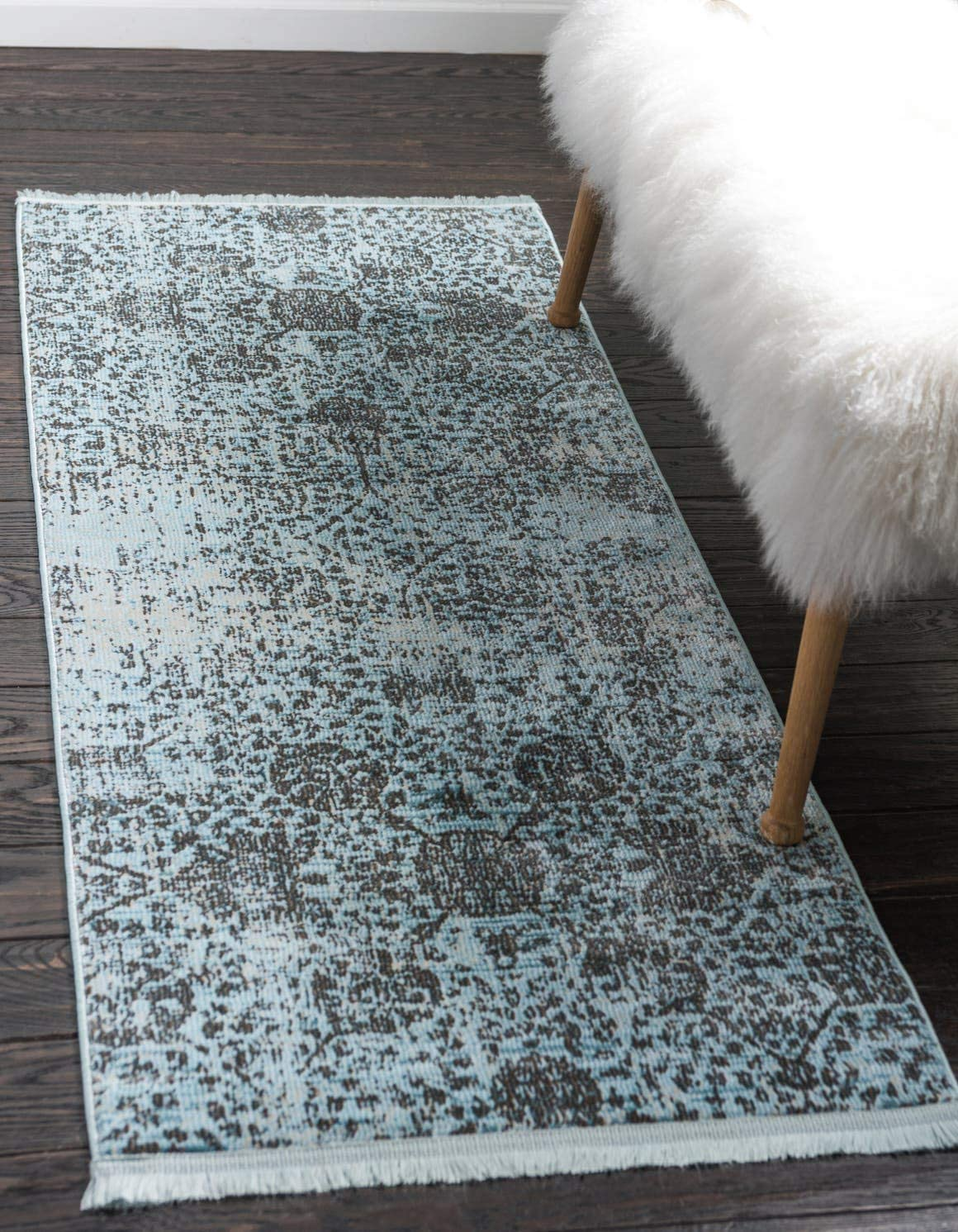 Unique Loom Baracoa Collection Bright Tones Vintage Traditional Light Blue Runner Rug 2 2 x 6 0