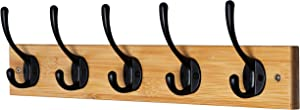 """Dseap Wall Mounted Coat Rack: 16"""" Hole to Hole, Coat Hook Hanger with 5 Metal Hooks for Hanging Coats Towels Hats Clothes, Natural & Black"""