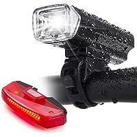Bike Lights,Bike Headlight with [Free Biicycle Taillight], LERMX USB Rechargeable Waterproof Bicycle Lights Set Powerful…