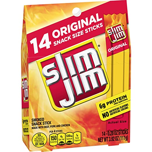 Slim Jim Snack-Sized Smoked Meat Stick, Original Flavor, 14 Count