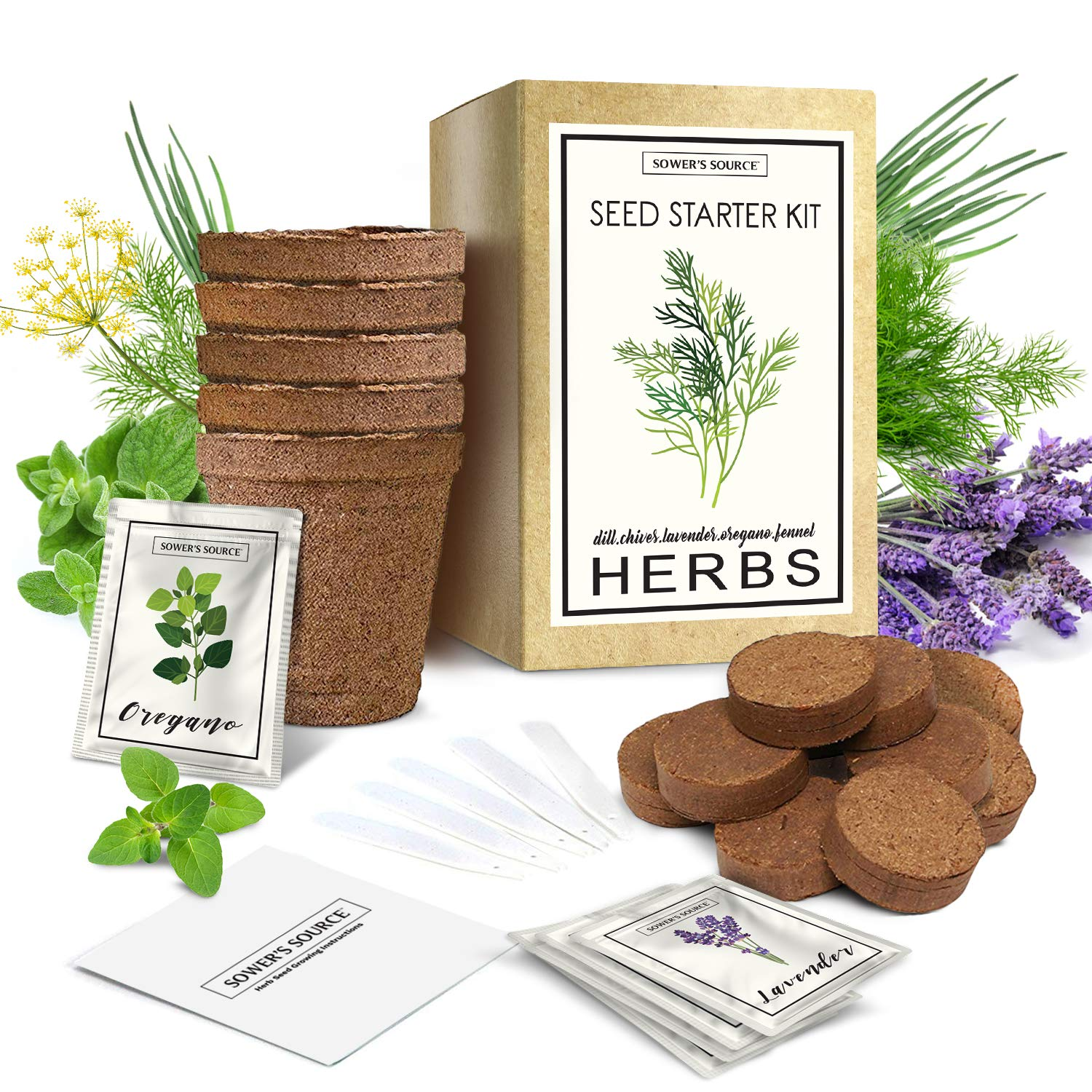 Herb Garden Starter Kit Indoor | Natural, Organic Growing Kit | Perfect for Gardener Gifts | Pots, Markers, Seed Packets, Soil Mix | Lavender, Dill, Chives, Oregano, Fennel | Sower's Source by Sower's Source