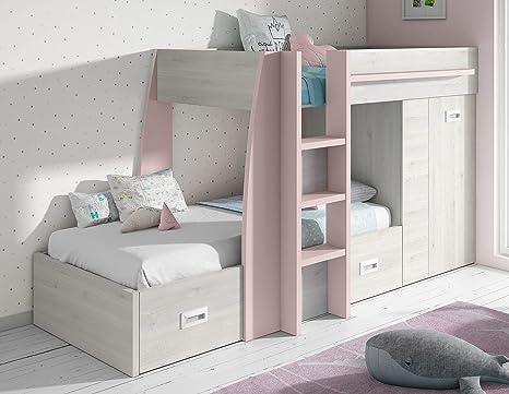 Miroytengo Cama litera Infantil Dormitorio diseño Original Forma Tren Color Rosa y Blanco con cajones y