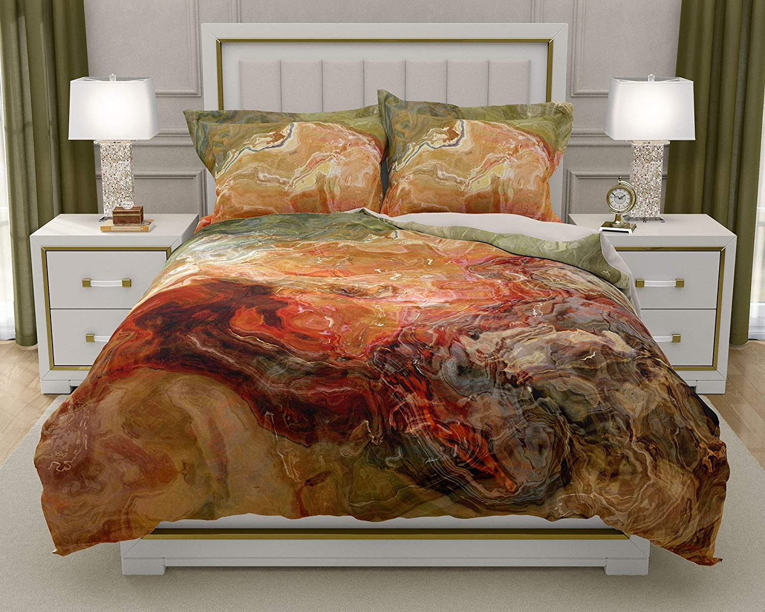 Image of King or Queen 3 pc Duvet Cover Set with abstract art, Firestarter