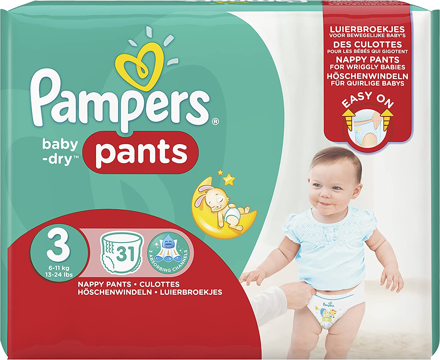 Pampers Baby Dry Pants Nappies Size 3/Midi 6/and 11kg Value Pack 31/Diapers