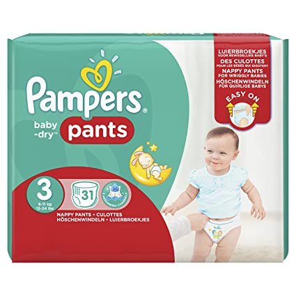 PAMPERS Baby Dry Pants Talla 3 midi 6 – 11 kg – Pack 31 Pañales
