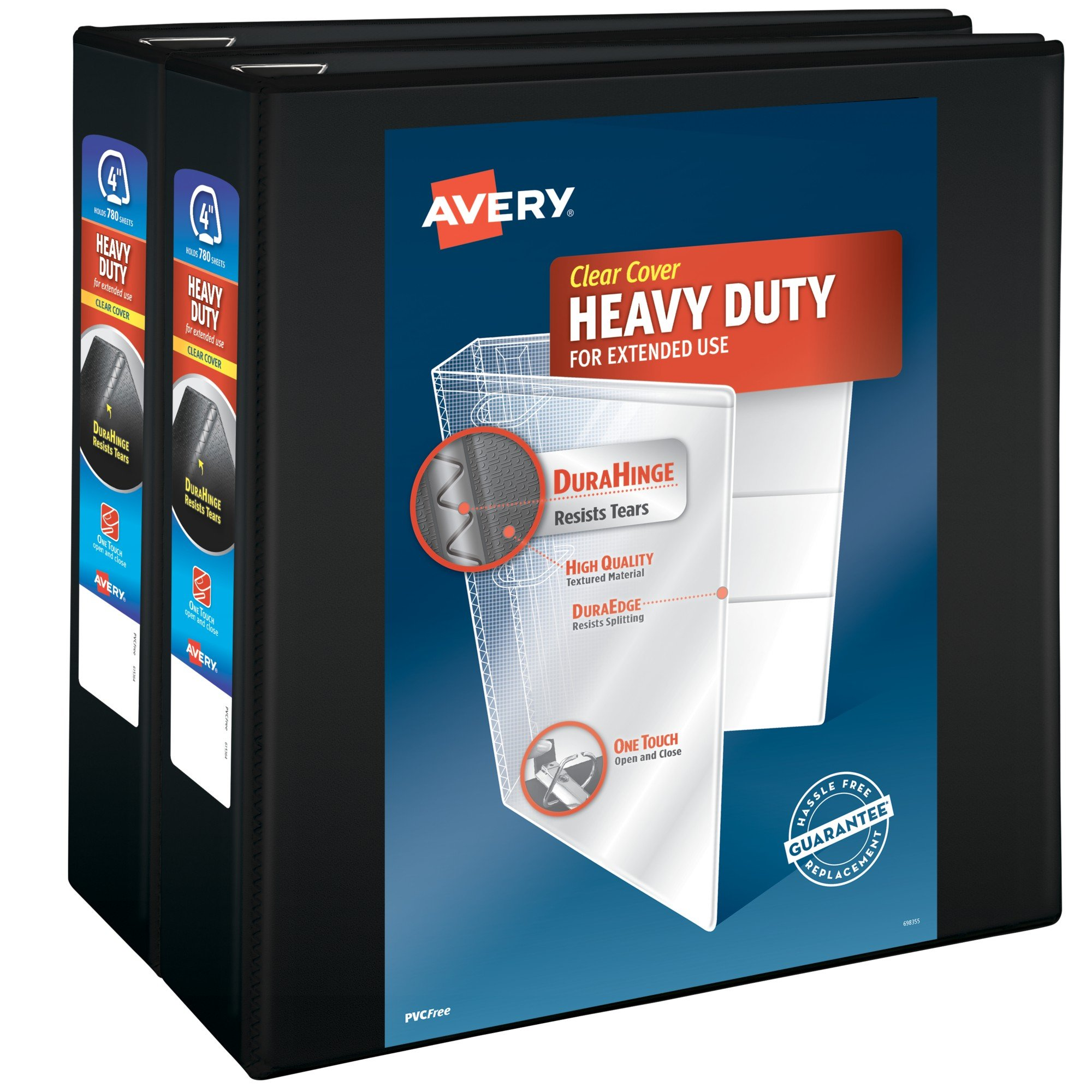 Avery Heavy-Duty View Binders, 4'' One-Touch Slant Rings, 700-Sheet Capacity, DuraHinge, Black, Pack of 2 Binders (79784)