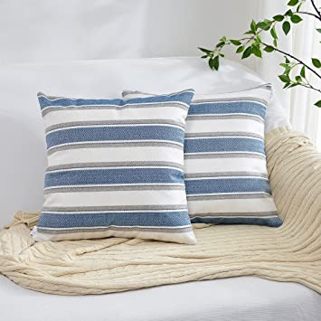 NATUS WEAVER Throw Cushion Faux Linen Home Decorative Hand Made Pillow Case Cushion Cover for Naps, 24 x 24 inch, 2 Pieces