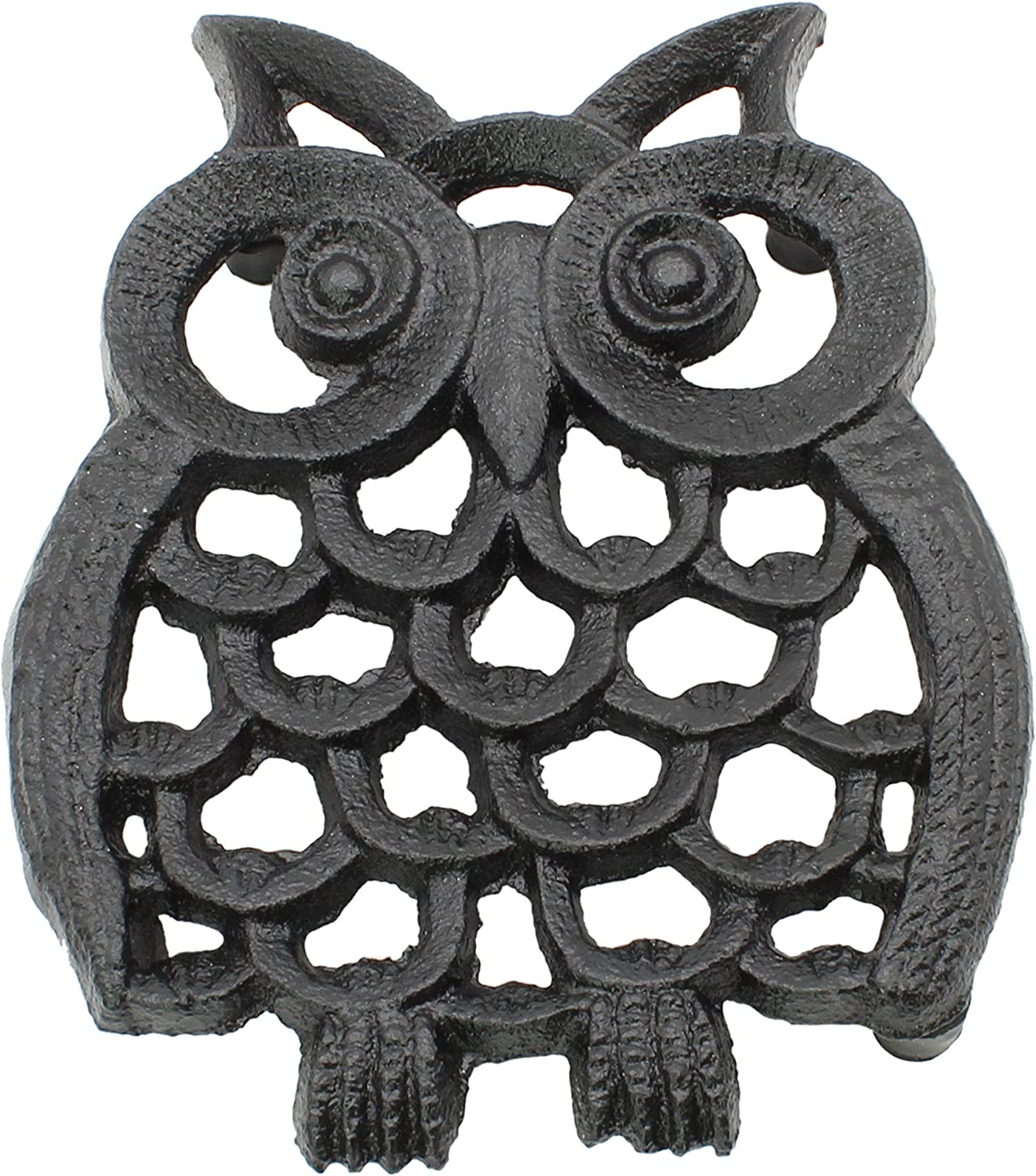 "Cast Iron Owl Trivet | Decorative Pot Pan Trivet For Kitchen Counter or Dining Table Vintage Design Trivets | Use For Teapot Casseroles Slow Cooker Crock Pot | With Rubber Feet Recycled (4.5"" x 5.5"")"