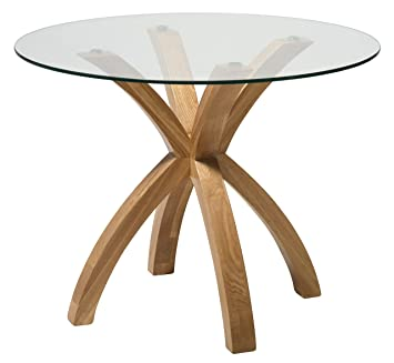 New Phoenix Solid Oak Glass Dining Table Modern Clear Dining Room
