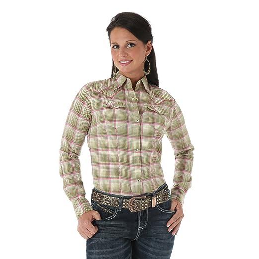 2c589b374b2 Women's Wrangler Western Fashion Premium Patch Green Pink (XL) at ...