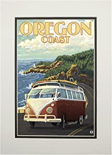 product image for Camper Van Cruising the Oregon Coast (11x14 Double-Matted Art Print, Wall Decor Ready to Frame)