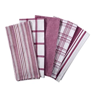 "DII Kitchen Dish Towels (Wine, 18x28""), Ultra Absorbent & Fast Drying, Professional Grade Cotton Tea Towels for Everyday Cooking and Baking -Assorted Patterns, Set of 5"