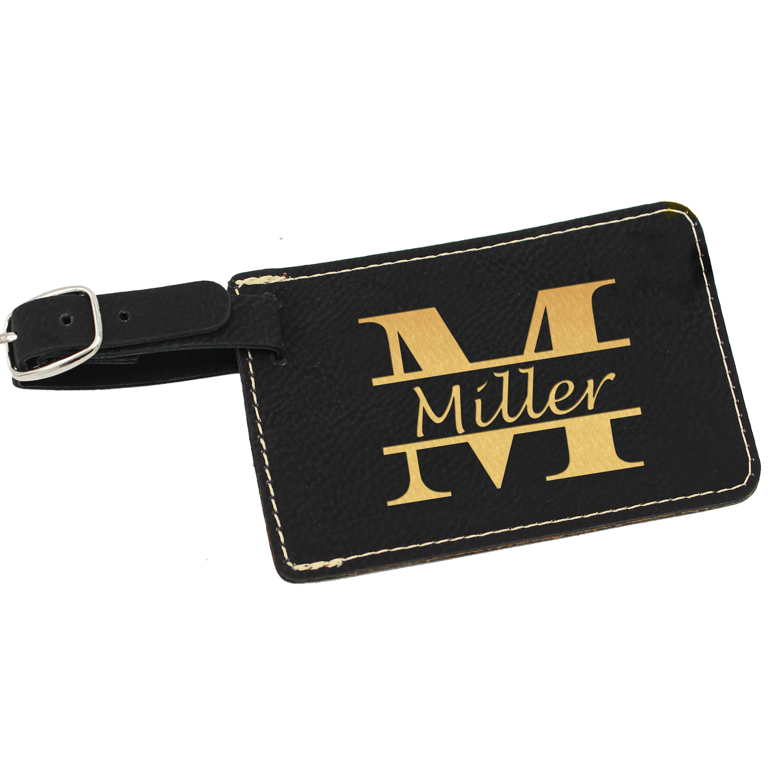 Custom Personalized Luggage Tag - Engraved Travel Gifts - Monogrammed for Free (Black with Gold)