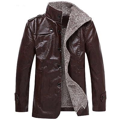 free shipping b3c53 3a844 WLITTLE Herren Winddichte PU Leder Winterjacke Moto Kragen ...