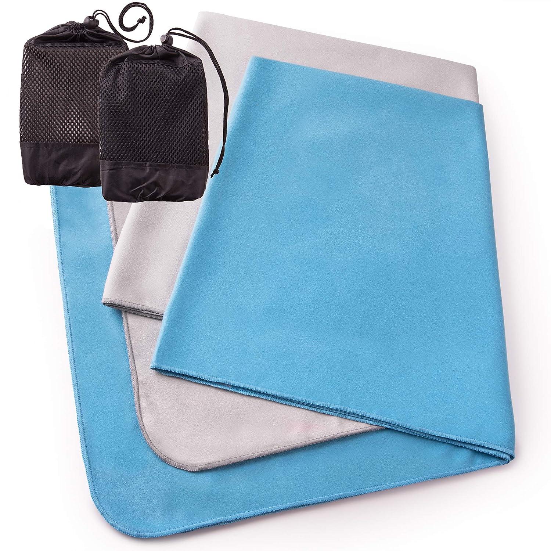 The Friendly Swede Set 2 Toallas de Microfibra para Viaje y Deporte con 2 Bolsas en Red (Azul Claro+Gris 76x152cm): Amazon.es: Deportes y aire libre