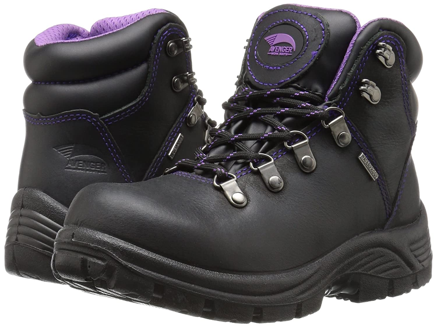 41717ec35ad Amazon.com  Avenger Women s 7124 Leather Waterproof EH Slip Resistant Work  Boot  Shoes