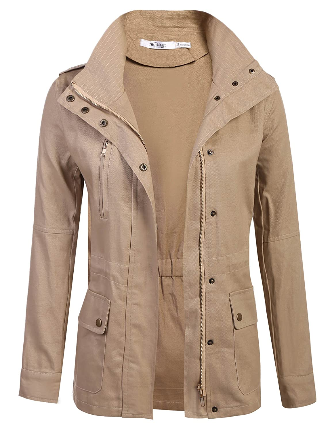 Meaneor Womans Classic Military Safari Utility Anorak Street Fashion Jacket MAH005560