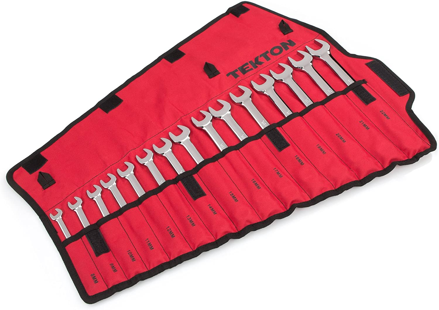 TEKTON Combination Wrench Set with Roll-up Storage Pouch, Metric, 8 mm - 22 mm, 15-Piece | WRN03393