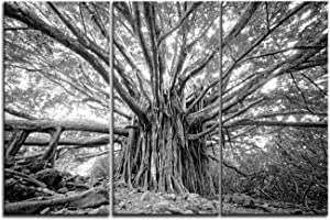 """Artsbay Black and White 3 Pieces Tree Wall Art Decor Forest Autumn Nature Landscape Pictures Canvas Print Tree of Life Painting Artwork Modern Tree Decoration for Home Ofiice Living Room Decor 16""""X32"""""""