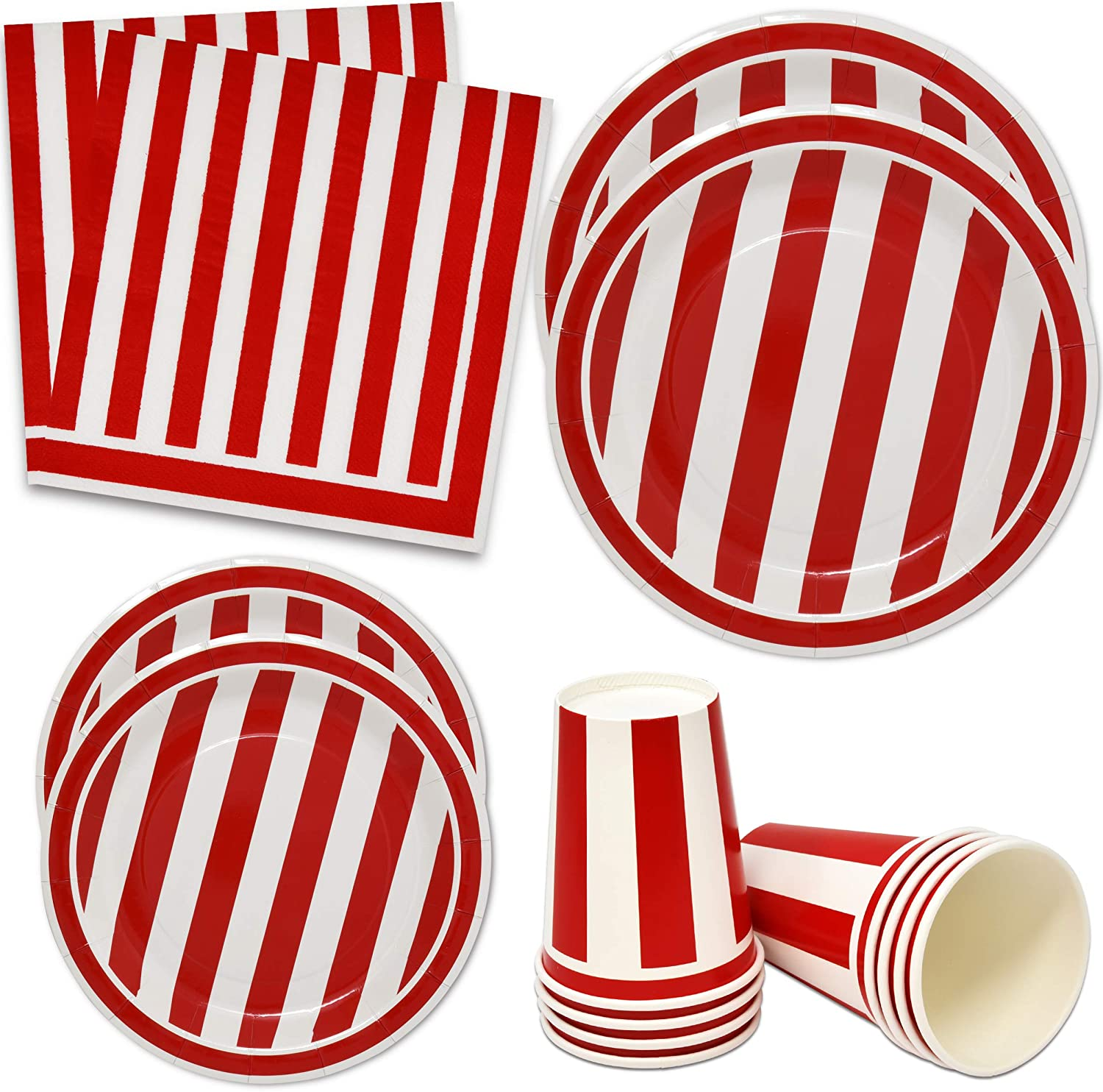 Red and White Stripes Party Supplies Tableware Set 30 9