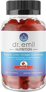 Dr. Emil Nutrition Apple Cider Vinegar Gummy Vitamin for Immunity, Detox, Digestion and Weight Management - Vegan Gummy with Vitamin B12-60 Count
