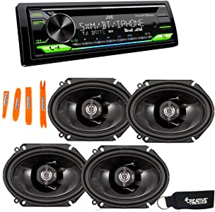 JVC KD-T910BTS - CD Receiver w/Bluetooth, Front USB, AUX, Amazon Alexa, SirusXM Ready + Two Pairs of JVC 6x8 Speakers