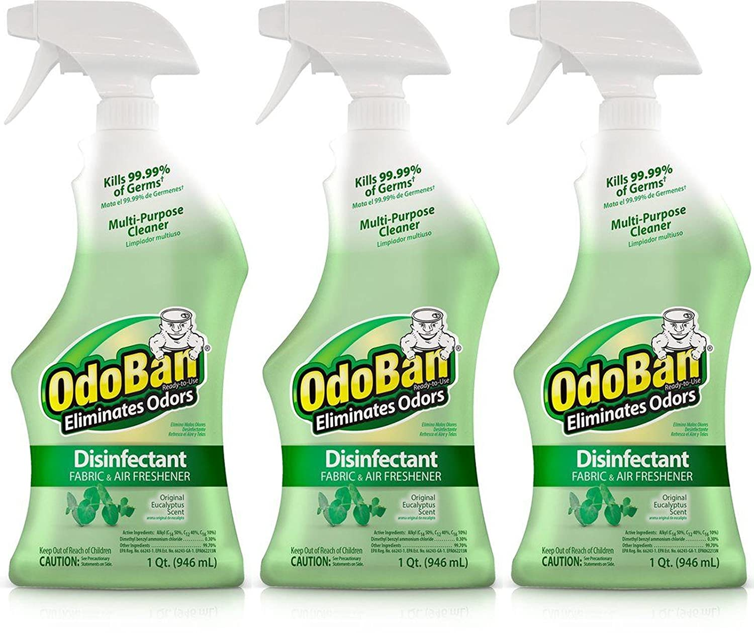 OdoBan 32 OZ Ready-to-Use Disinfectant Fabric and Air Freshener (Pack of 3) NA