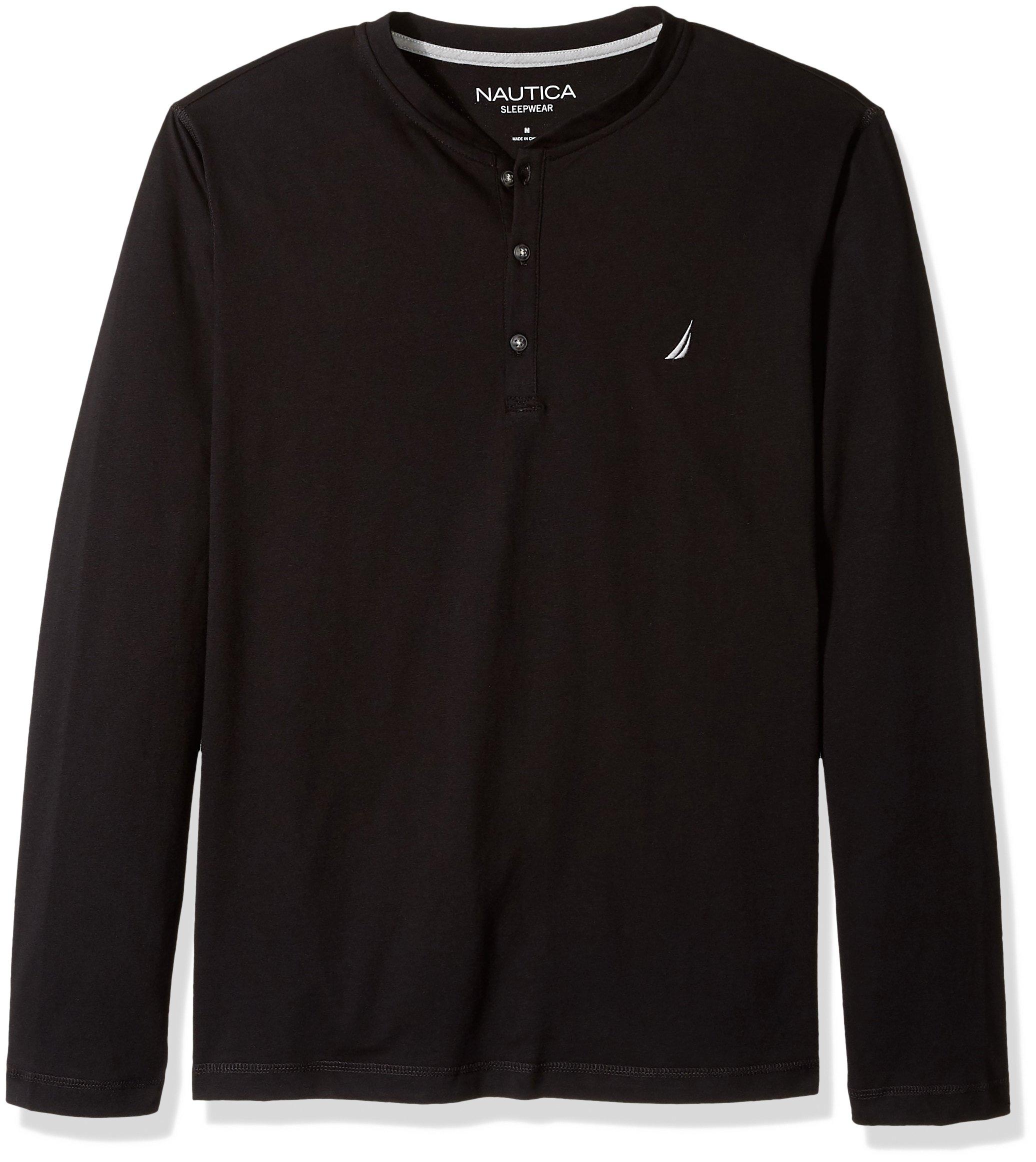 Nautica Men's Long Sleeve Henley Pajama Top, True Black, Medium