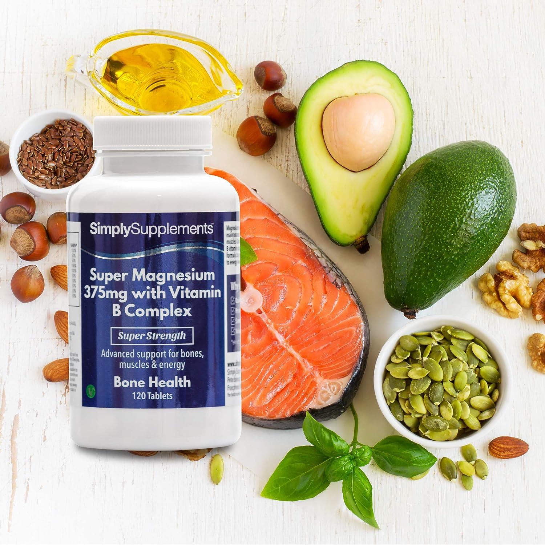 Super Magnesio 375 mg con Complejo de Vitamina B - 120 comprimidos - Hasta 4 meses de suministro - Salud ósea - SimplySupplements: Amazon.es: Salud y ...