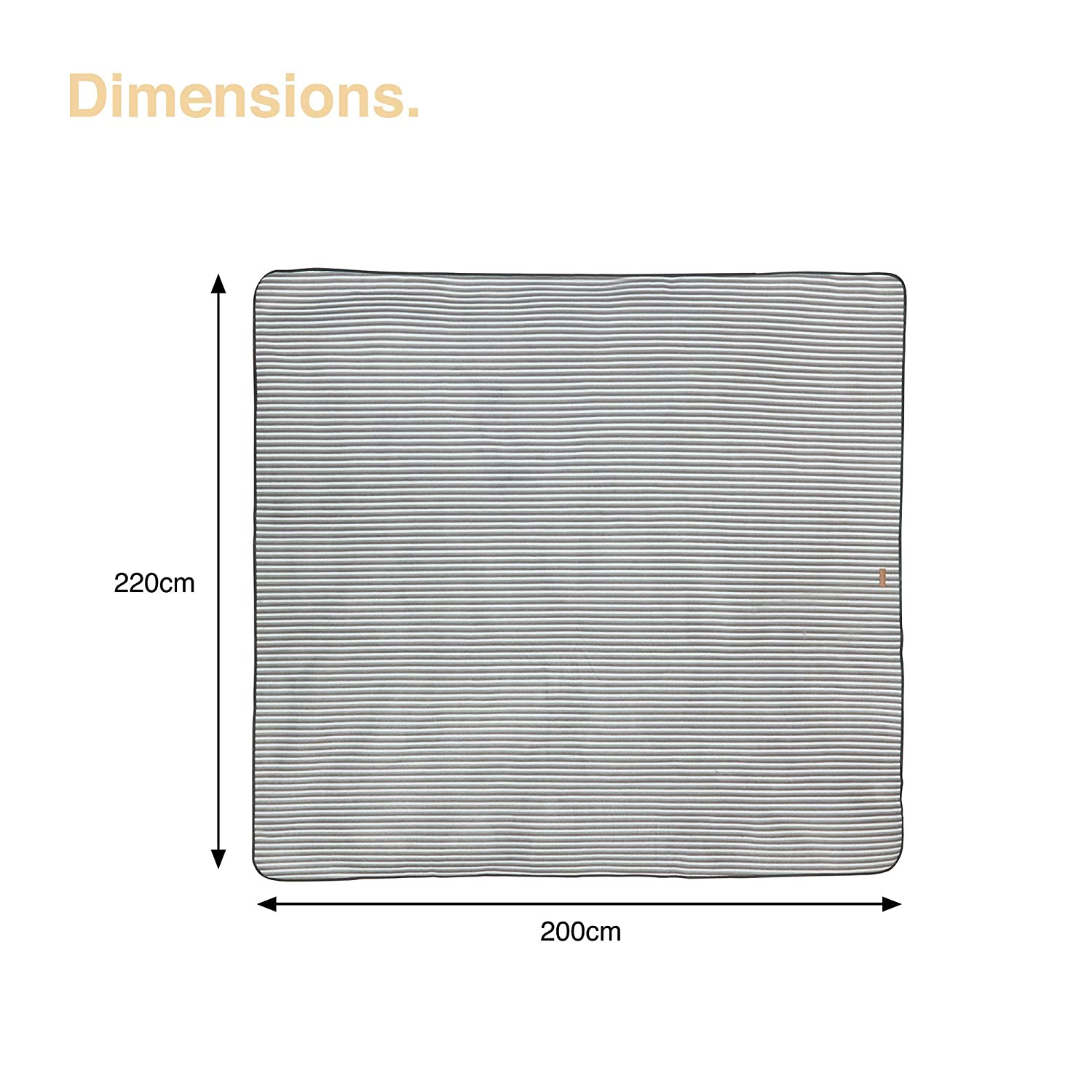 Striped VonShef Picnic Blanket Extra Large 200 x 220cm Lightweight Waterproof Family Sized Blanket