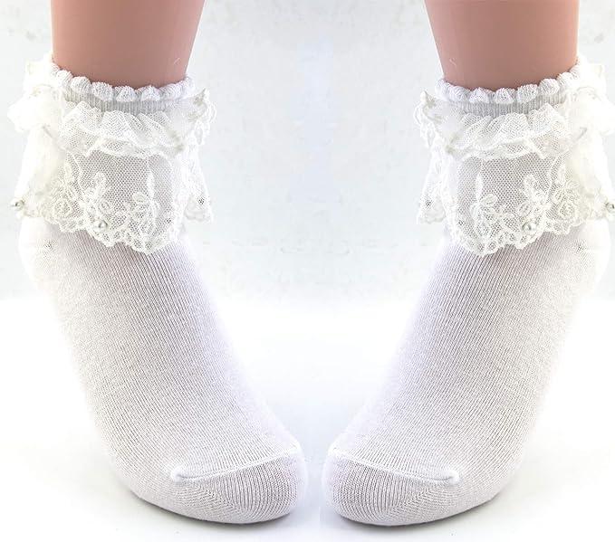 e7e7d9289 VIVIKI Women Lace Cotton Frilly Ruffle Socks Ankle Socks Pearl Socks A06 at  Amazon Women s Clothing store